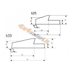 K25 praplatinimai (2,5 cm)